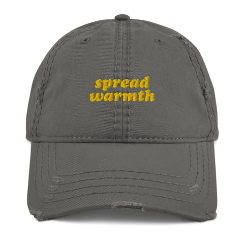 Spread Warmth Charcoal Yellow Distressed Look Cap
