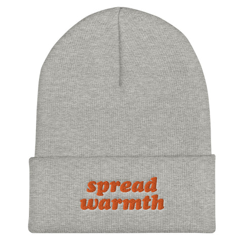 Spread Warmth Orange Heather Gray Embroidered Beanie