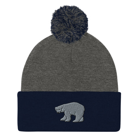 Navy Gray Polar Bear Pom Beanie