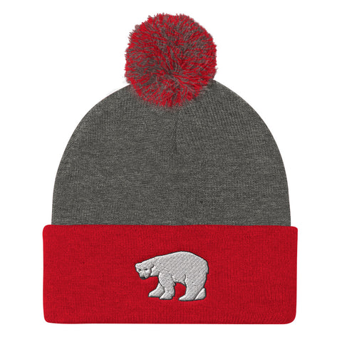 Polar Bear Red Gray Pom Beanie