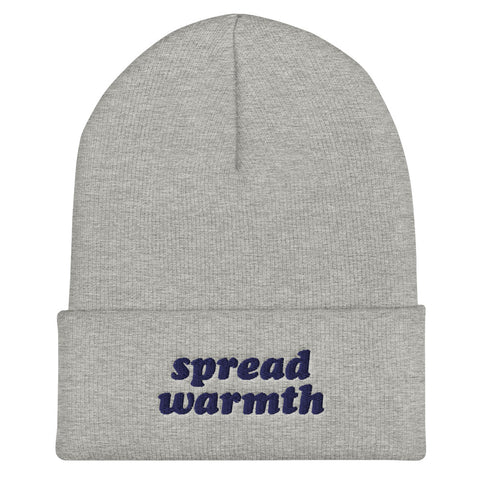 Spread Warmth Embroidered Gray Navy Beanie