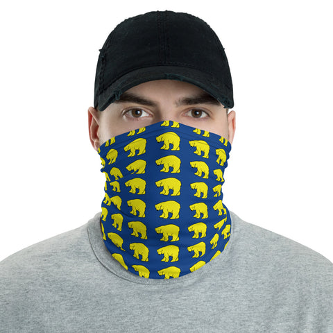 Polar Bear Pattern Neck Gaiter - Yellow and Navy Blue