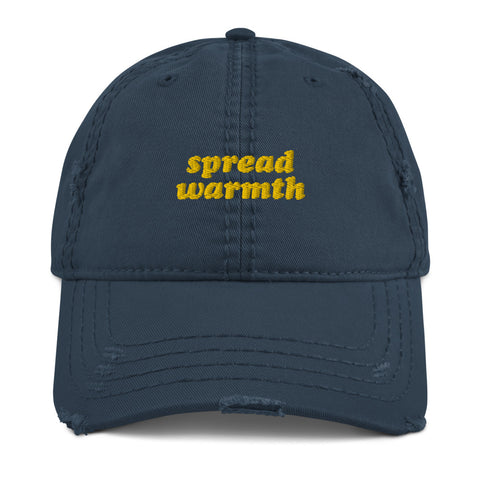 Spread Warmth Navy Maize Distressed Look Cap