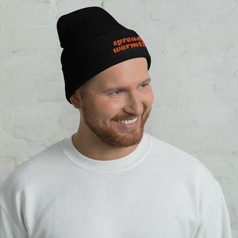 Spread Warmth Embroidered Black Orange Beanie