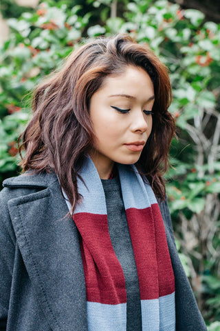 Burgundy Denim Rugby Scarf
