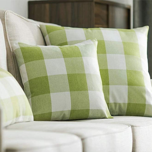 Spring Green Buffalo Check Pillow Cover