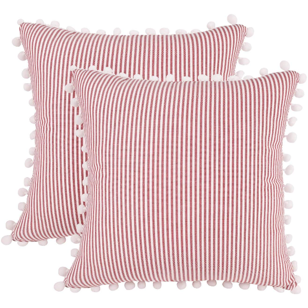 Stripe Tassel Pillow Cover