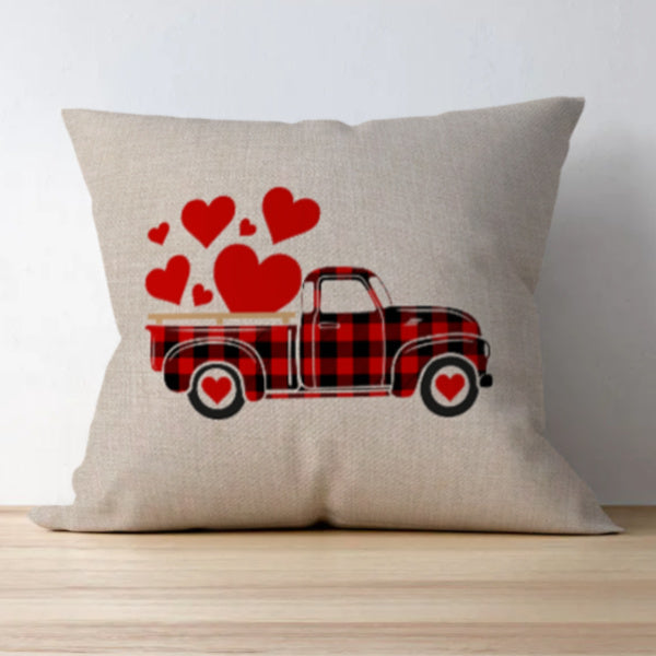 Love Truck Buffalo Check Pillow cover