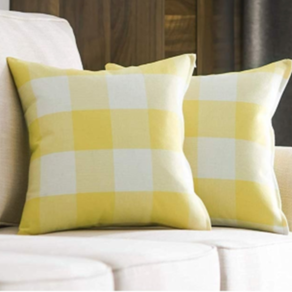 Spring Yellow Buffalo Check Pillow Cover