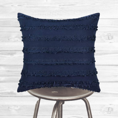 Boho Pillow Cover - Blue tassels