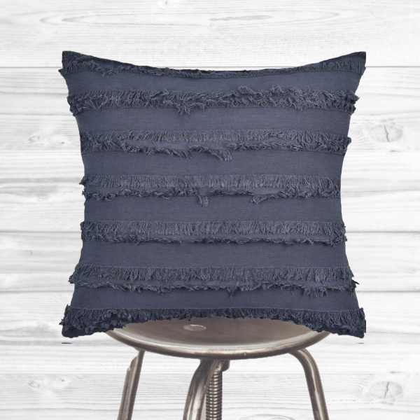 Boho Pillow Cover - Gray tassels