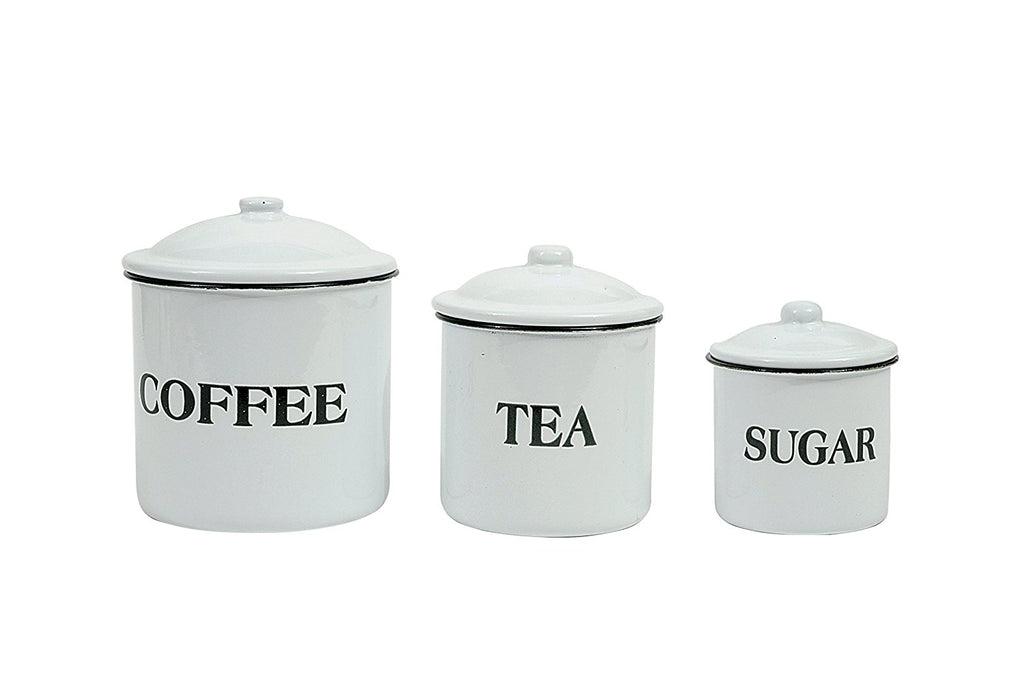 Coffee Tea Sugar Enamelware Container Set