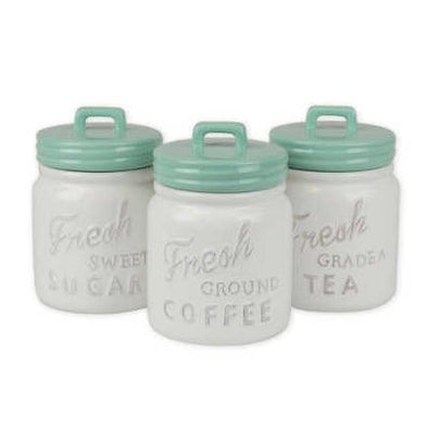Aqua Ceramic Jar Canister Set of 3