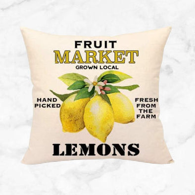 Spring Lemon Farmers Market Pillow Cover