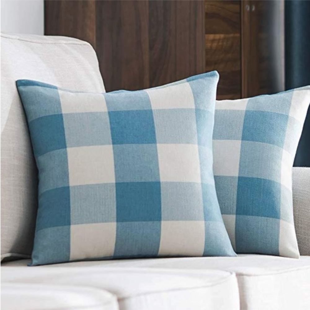 Spring Breeze Blue Buffalo Check Pillow Cover