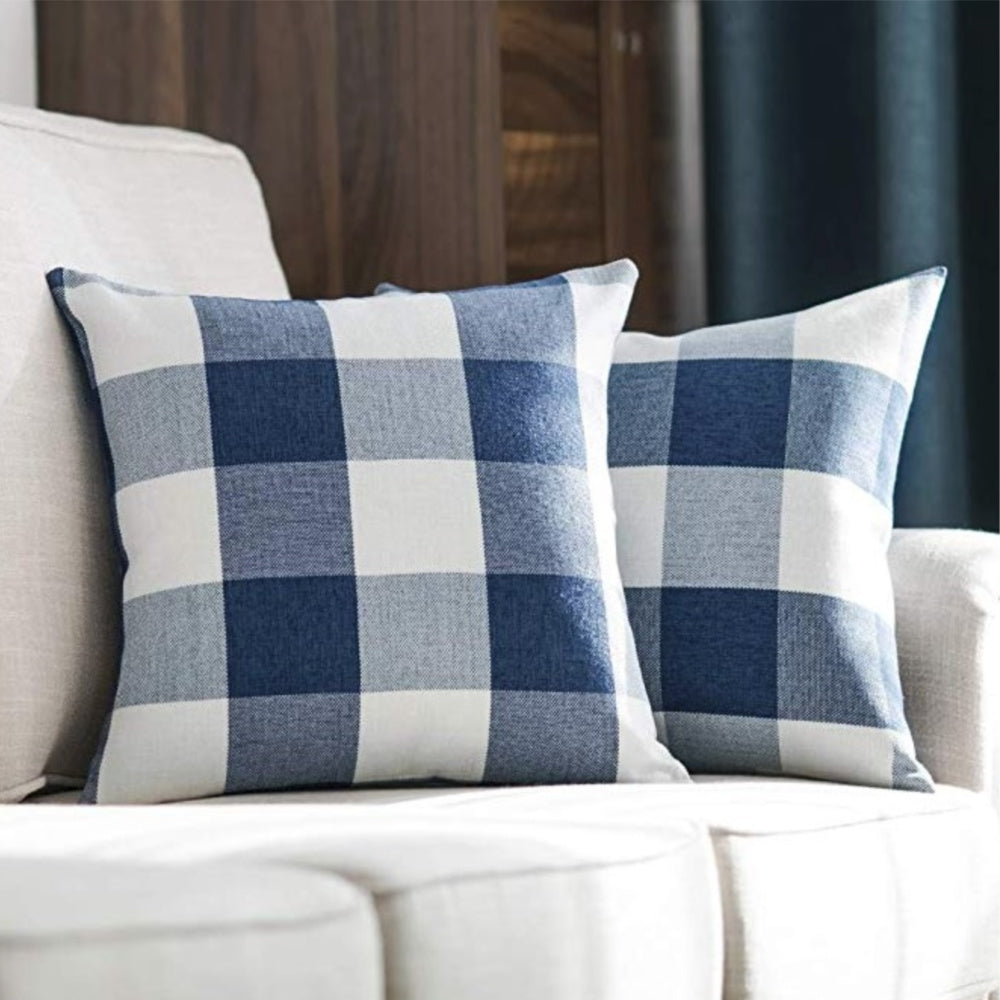Spring Navy Buffalo Check Pillow Cover