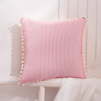 Pink - Ticking Stripe with Tassels Love Pillow cover