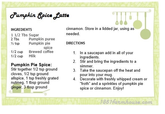 Printable Pumpkin Spice Latte Recipe Card