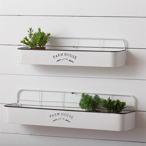 2 WHITE FARMHOUSE LOCAL SHELF