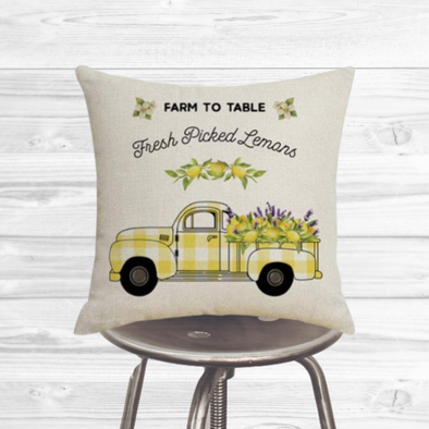 Spring Lemon Truck Pillow Cover
