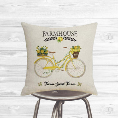 Spring Yellow Farmhouse Bike Pillow Cover