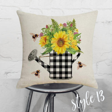 Spring Checkered Pitcher Pillow Cover