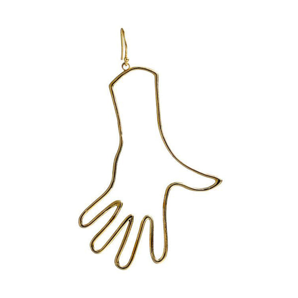 Open Palm Hand Earring (Single) - GLETNYC.com