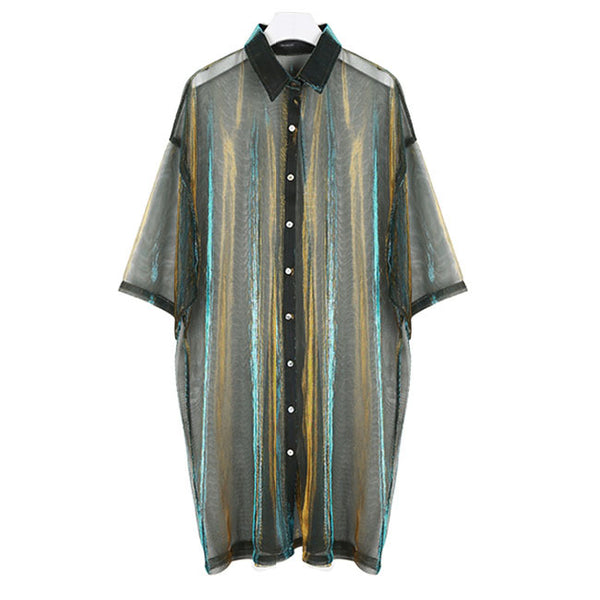 Sheer Iridescent Short-sleeved Shirt - GLETNYC.com