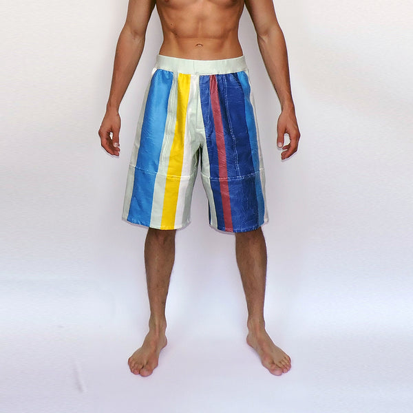 PU Coated Striped Shorts - GLETNYC.com