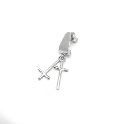 The Dark/Light Cross Hoisted Single Earring - GLETNYC.com