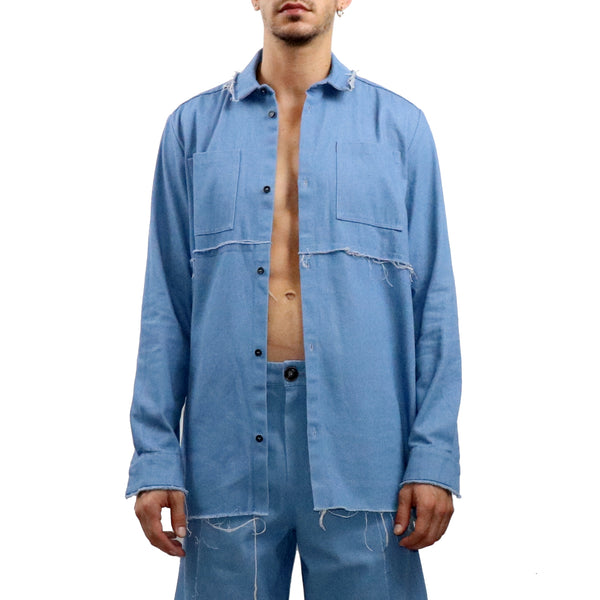 Frayed Edge Denim Shirt - GLETNYC.com