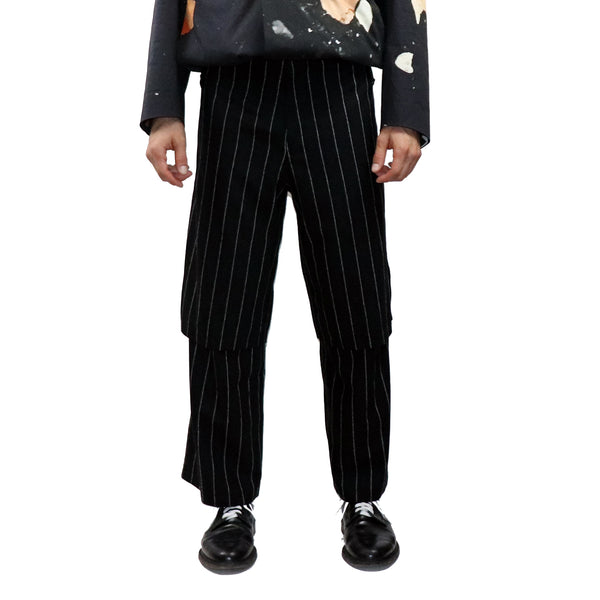 Double Layer Pinstripe Trouser - GLETNYC.com