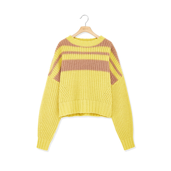 Kalash Bellone Striped Cropped Sweater - GLETNYC.com