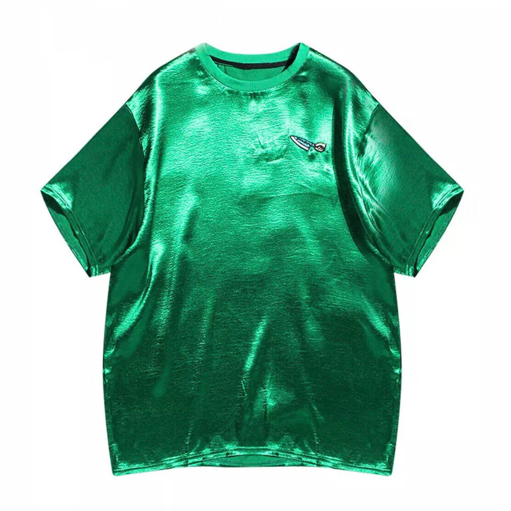 Loose Sateen T Shirt With Embroidery Detail Gletnyc