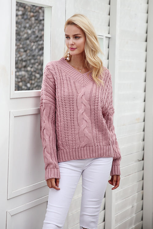 Knitted Pullover Sweater - BellaChics