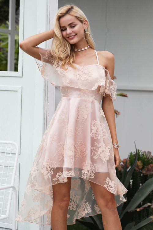 Pink Floral Mesh Ruffle Dress with Off Shoulder - BellaChics