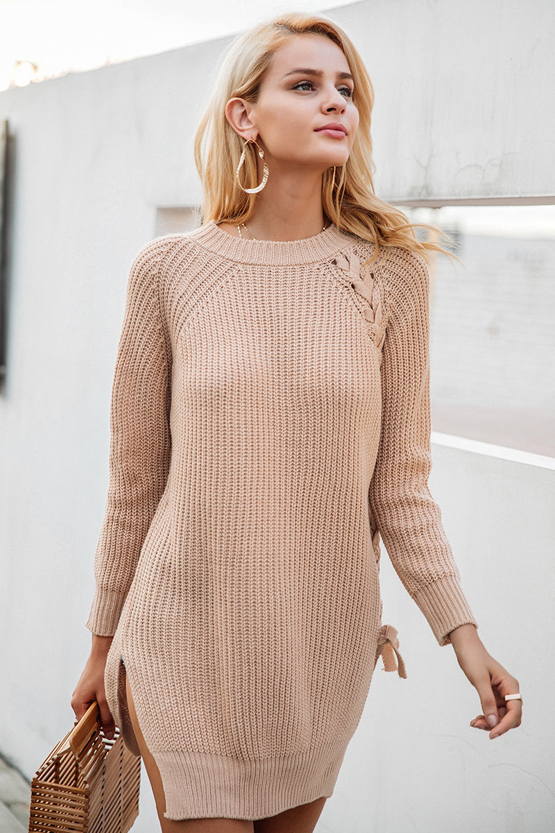 Elegant Lace Up Winter Sweater - BellaChics