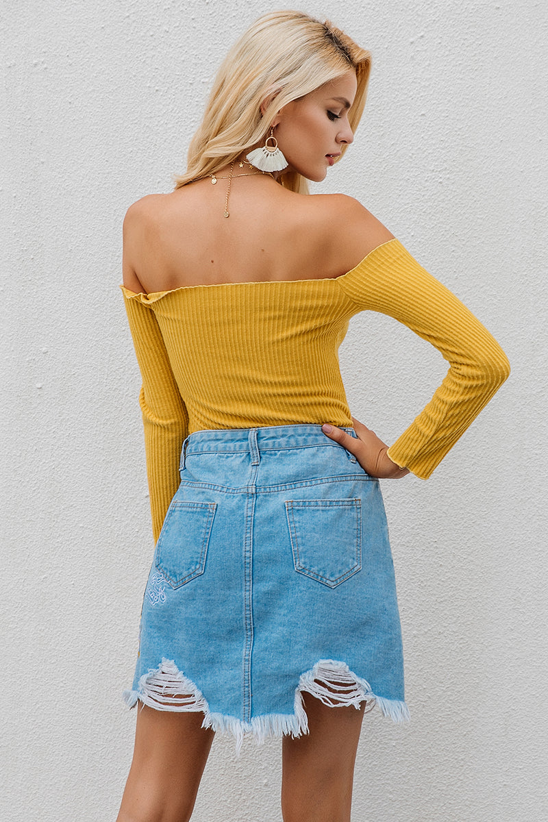 Sexy Off Shoulder Knitted Tee - BellaChics