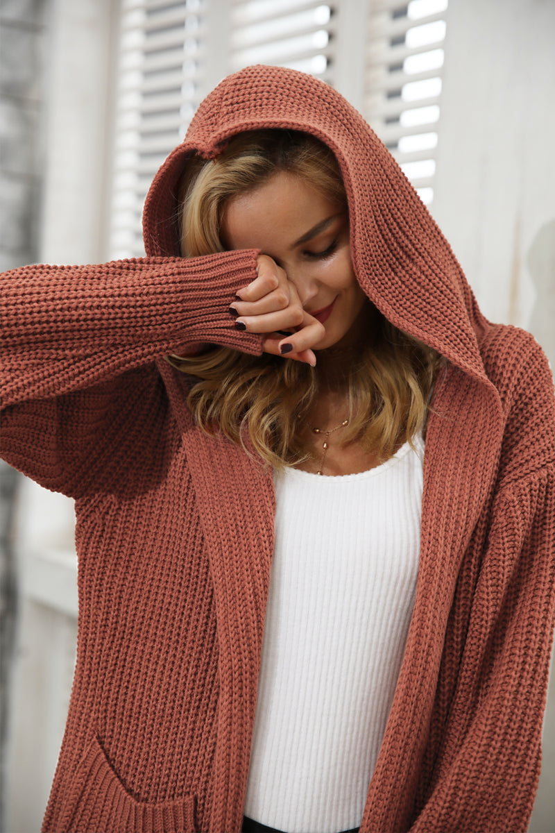 Hooded Knitted Long Cardigan Sweater - BellaChics