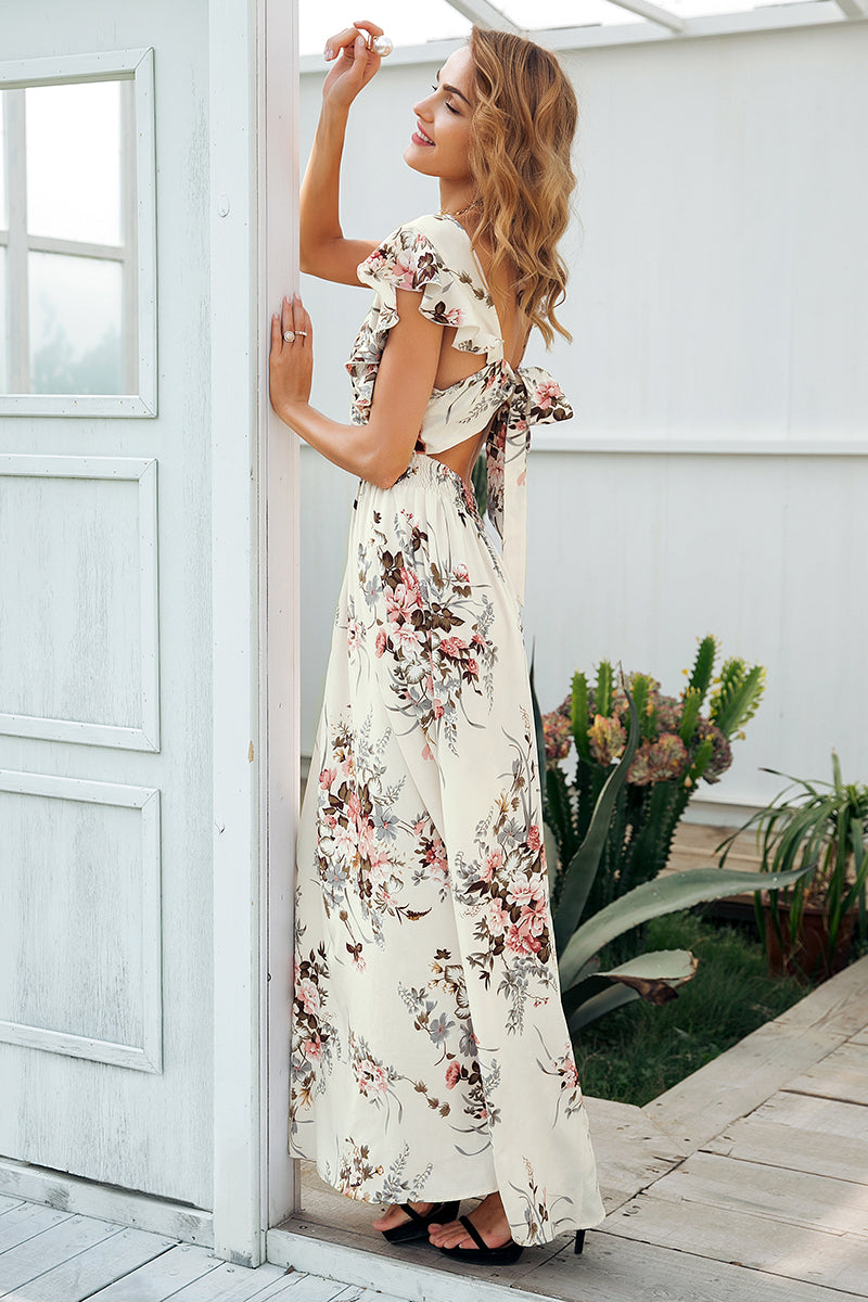 Backless V-Neck Casual Summer Dress - BellaChics