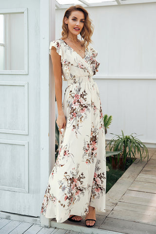 V-Neck Summer Sunflower Print Dress