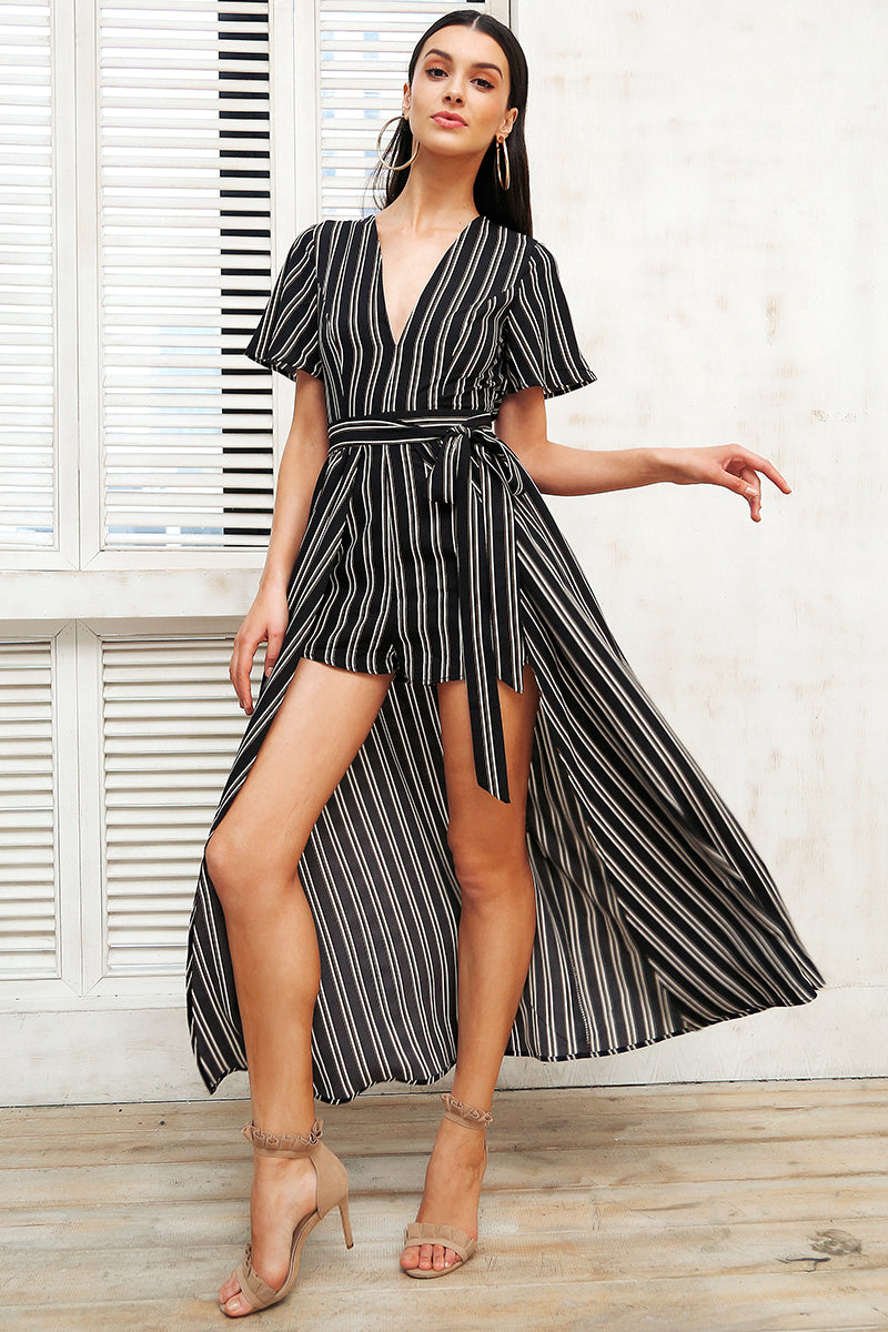 Boho Print Striped V-Neck Dress - BellaChics
