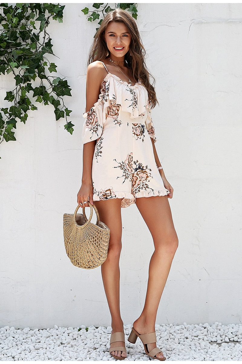 Cold Shoulder Ruffle Sexy Playsuit - BellaChics