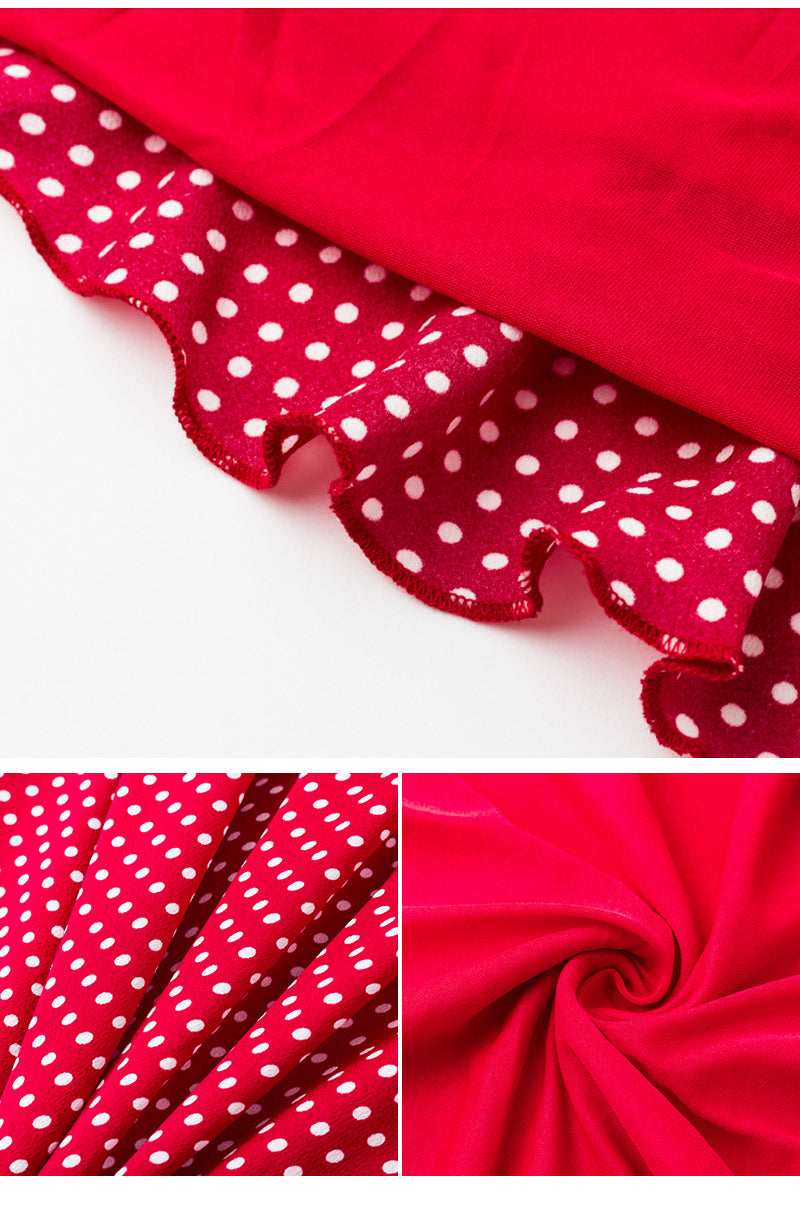 Off Shoulder Polka Dot Red Summer Dress - BellaChics