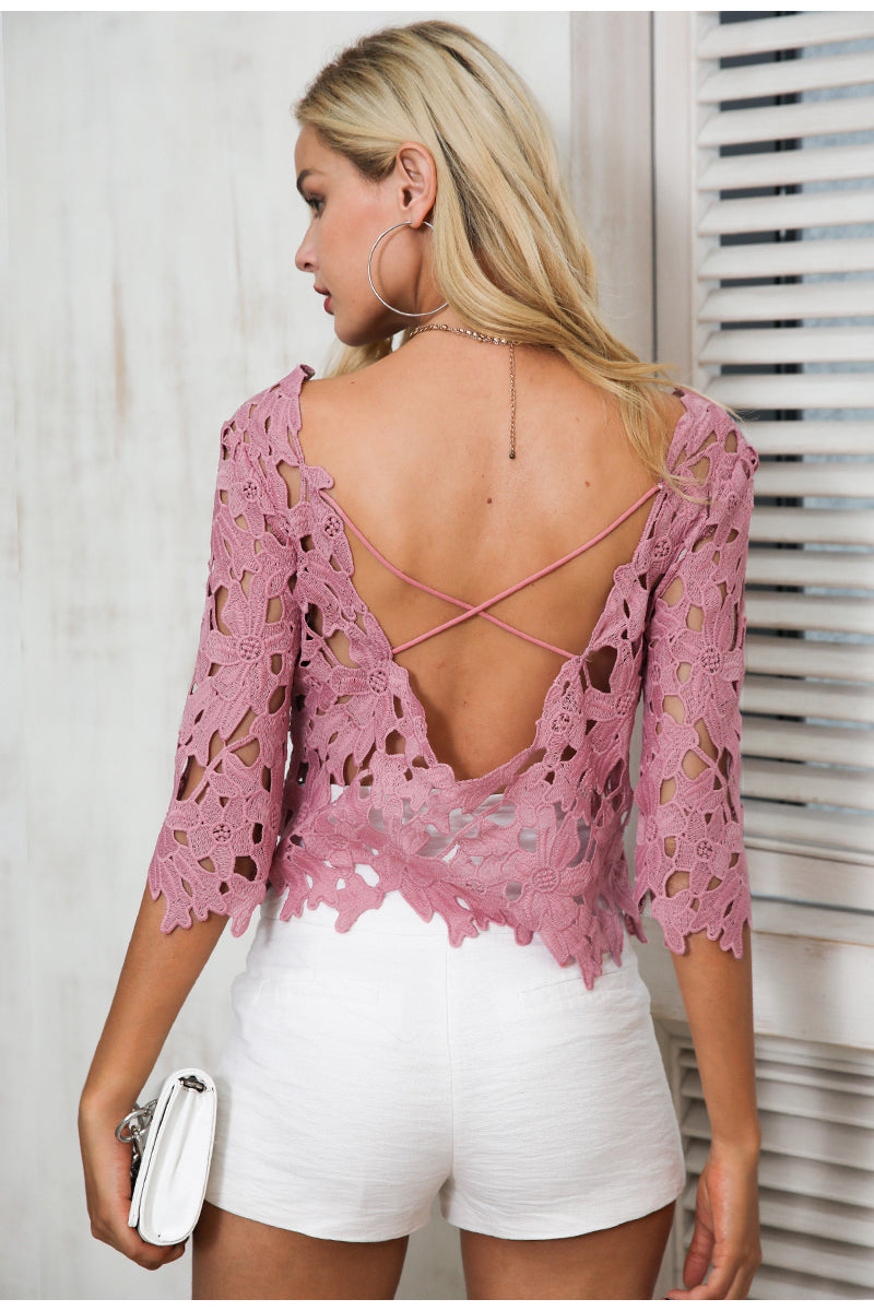 Hollow Out Sexy Lace Blouse Shirt - BellaChics