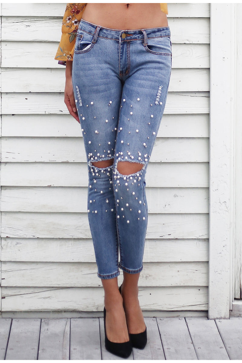 Streetwear Pearl Hole Jeans with Pockets - BellaChics