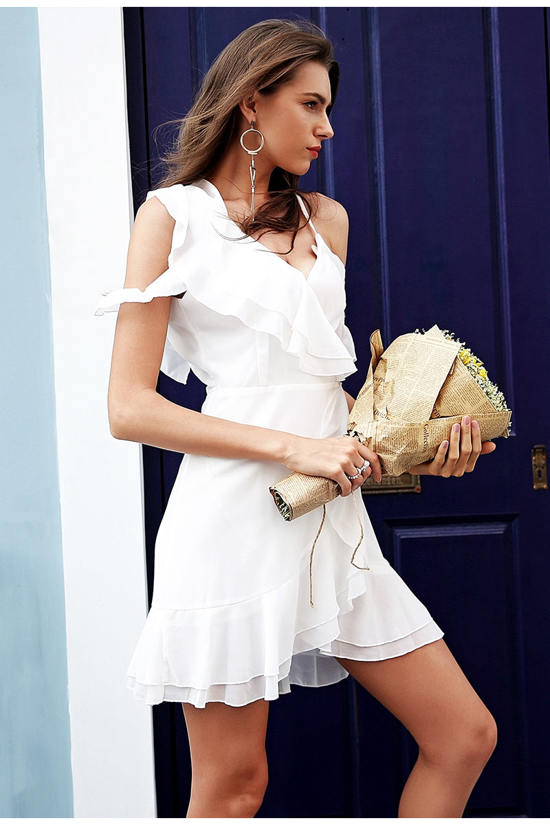 White Ruffle Cold Shoulder Dress with High Waist - BellaChics