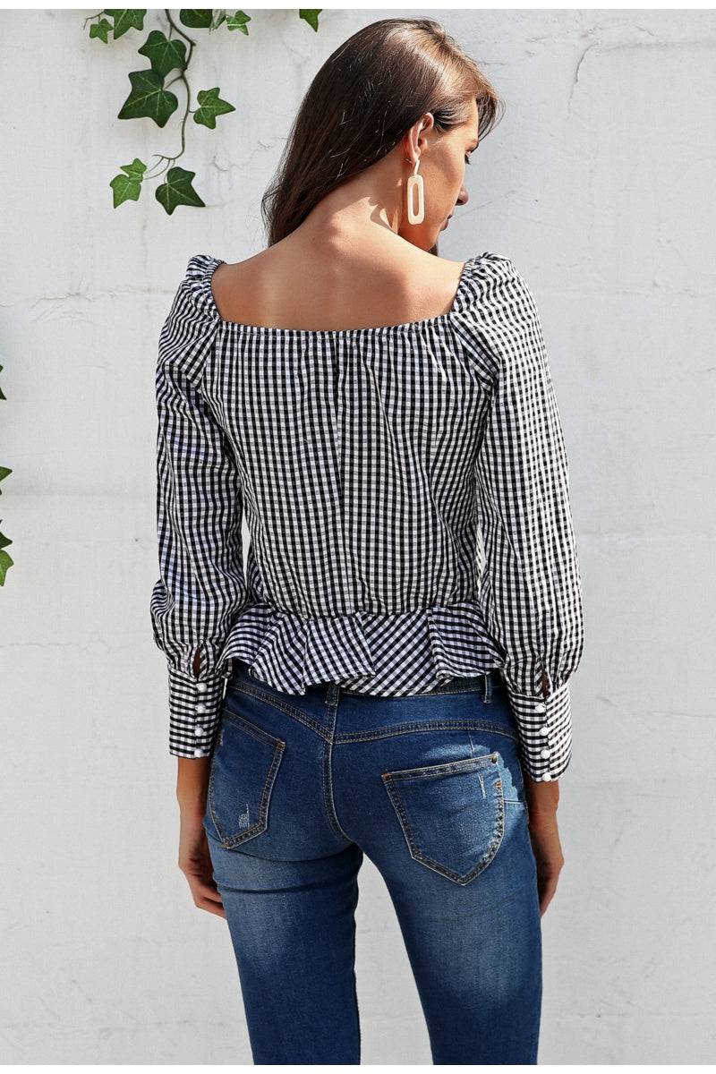 Plaid Long Sleeve Ruffle Blouse Shirt - BellaChics