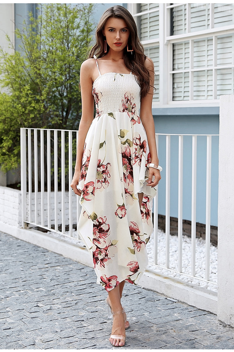 Elegant Floral Print Maxi Dress with Straps - BellaChics