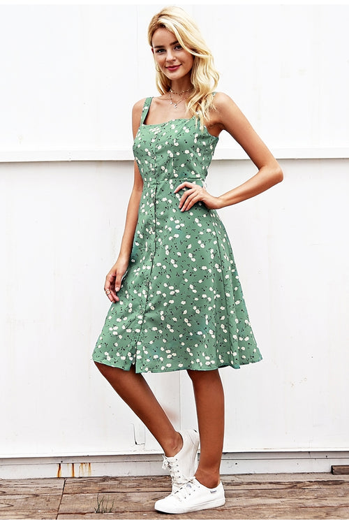 Vintage Print Summer Dress - BellaChics